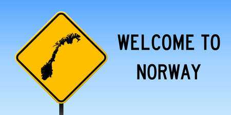 Wide poster with Norway country map on yellow rhomb road sign Vector illustration.