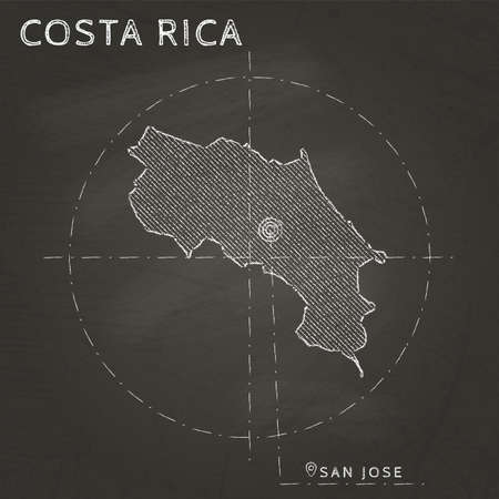 Costa Rica chalk map with capital marked hand drawn on textured school blackboard Vector illustration.