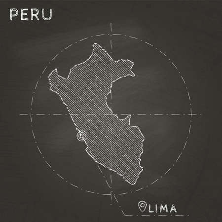 Peru chalk map with capital marked hand drawn on textured school blackboard Vector illustration.