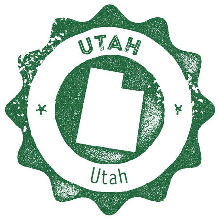 Utah map vintage stamp. Retro style handmade label, badge or element for travel souvenirs. Dark green rubber stamp with us state map silhouette. Vector illustration.