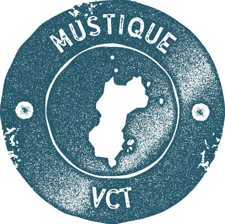 Mustique map vintage stamp. Retro style handmade label, badge or element for travel souvenirs. Blue rubber stamp with island map silhouette. Vector illustration.
