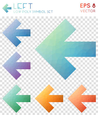 Left geometric polygonal icons. Authentic mosaic style symbol collection. Cool low poly style. Modern design. Left icons set for infographics or presentation.