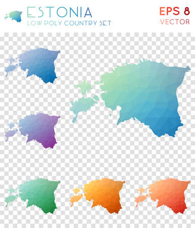 Estonia geometric polygonal maps, mosaic style country collection. Fascinating low poly style, modern design. Estonia polygonal maps for infographics or presentation.