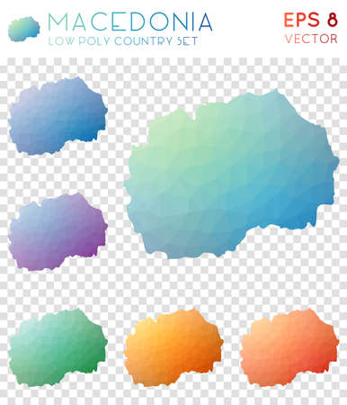Macedonia geometric polygonal maps, mosaic style country collection. Shapely low poly style, modern design. Macedonia polygonal maps for infographics or presentation. Illustration