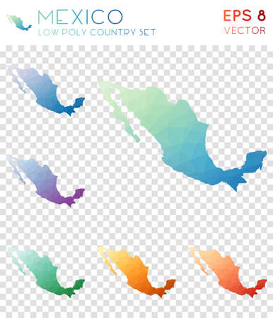 Mexico geometric polygonal maps, mosaic style country collection. Resplendent low poly style, modern design. Mexico polygonal maps for infographics or presentation.