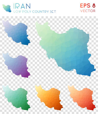 Iran geometric polygonal maps, mosaic style country collection. Majestic low poly style, modern design. Iran polygonal maps for infographics or presentation.