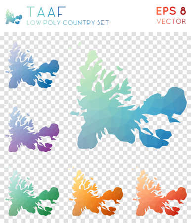 TAAF geometric polygonal maps, mosaic style country collection. Artistic low poly style, modern design. TAAF polygonal maps for infographics or presentation. Illustration