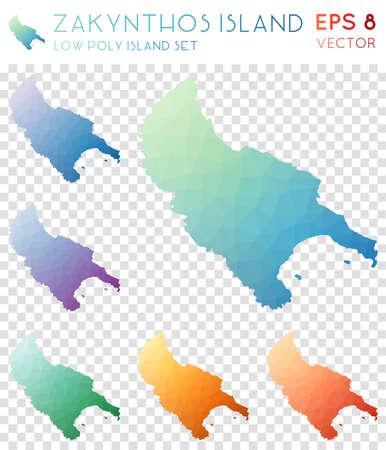 Zakynthos Island geometric polygonal maps, mosaic style island collection. Remarkable low poly style, modern design. Zakynthos Island polygonal maps for infographics or presentation. Illustration