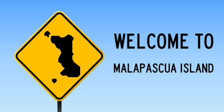 Malapascua Island map on road sign. Wide poster with Malapascua Island island map on yellow rhomb road sign. Vector illustration.