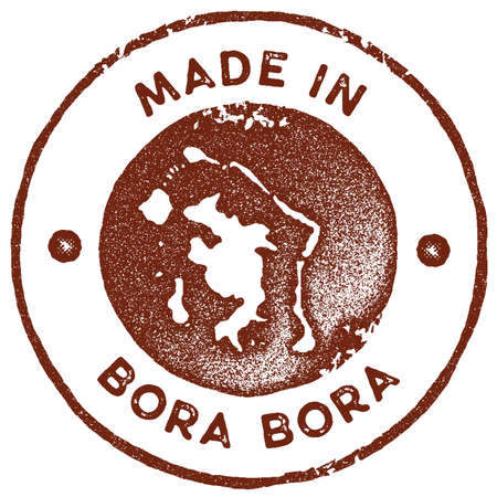 Bora Bora map vintage stamp. Retro style handmade label, badge or element for travel souvenirs. Red rubber stamp with island map silhouette. Vector illustration.