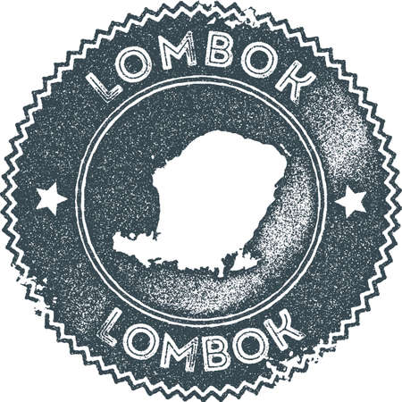 Lombok map vintage stamp. Retro style handmade label, badge or element for travel souvenirs. Dark blue rubber stamp with island map silhouette. Vector illustration.