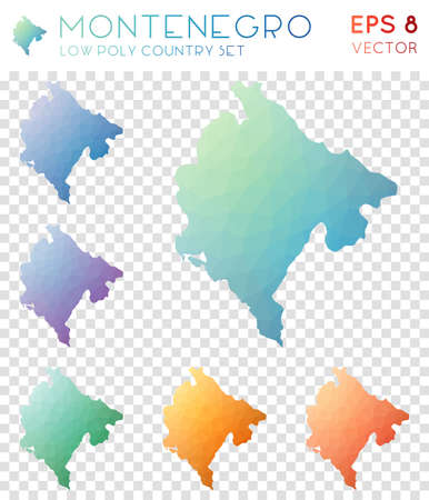 Montenegro geometric polygonal maps, mosaic style country collection. Stunning low poly style, modern design. Montenegro polygonal maps for infographics or presentation. Ilustração