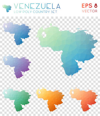 Venezuela geometric polygonal maps, mosaic style country collection. Fabulous low poly style, modern design. Venezuela polygonal maps for infographics or presentation.