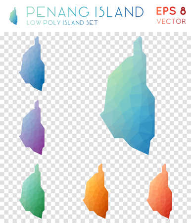 Penang Island geometric polygonal maps, mosaic style island collection. Favorable low poly style, modern design. Ilustrace