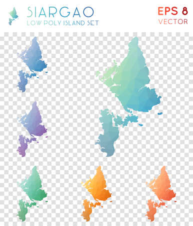 Siargao geometric polygonal maps, mosaic style island collection. Neat low poly style, modern design. Siargao polygonal maps for infographics or presentation.