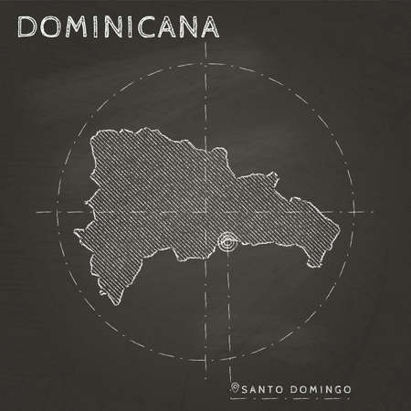 Dominicana chalk map with capital marked hand drawn on textured school blackboard. Chalk Dominicana outline with Santo Domingo marked. Vector illustration.