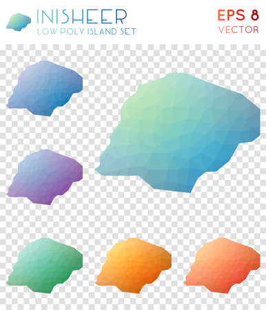 Inisheer geometric polygonal maps, mosaic style island collection. Sublime low poly style, modern design. Inisheer polygonal maps for infographics or presentation.