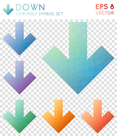Down geometric polygonal icons.