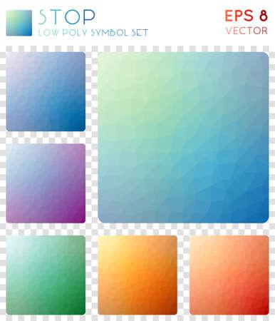 Square geometric polygonal icons.