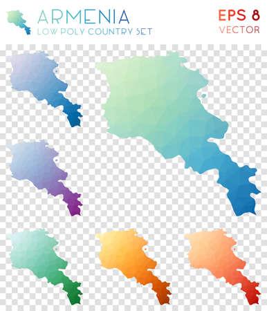 Armenia geometric polygonal maps, mosaic style country collection. Amusing low poly style, modern design. Armenia polygonal maps for infographics or presentation. Illusztráció