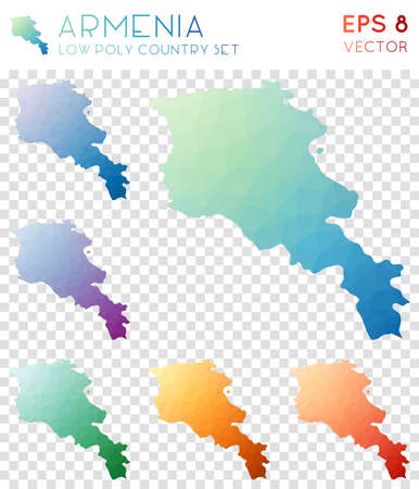Armenia geometric polygonal maps, mosaic style country collection. Amusing low poly style, modern design. Armenia polygonal maps for infographics or presentation. Illustration