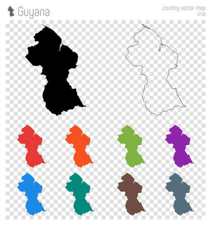 Guyana high detailed map. Country silhouette icon. Isolated Guyana black map outline. Vector illustration.
