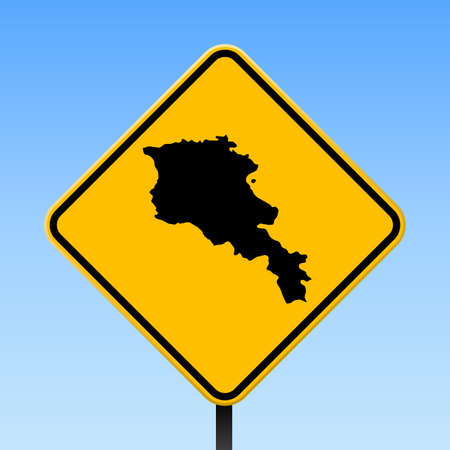 Armenia map on road sign. Square poster with Armenia country map on yellow rhomb road sign. Vector illustration.