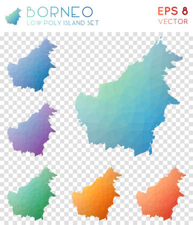 Borneo geometric polygonal maps, mosaic style island collection. Juicy low poly style, modern design. Borneo polygonal maps for infographics or presentation.