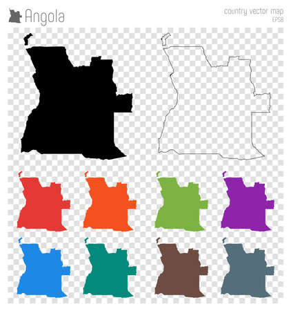 Angola high detailed map. Country silhouette icon. Isolated Angola black map outline. Vector illustration.