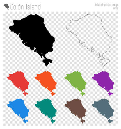 Colon Island high detailed map. Island silhouette icon. Isolated Colon Island black map outline. Vector illustration.