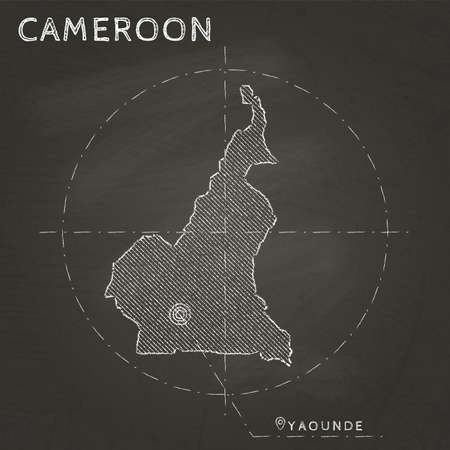 Cameroon chalk map with capital marked hand drawn on textured school blackboard. Vector illustration.