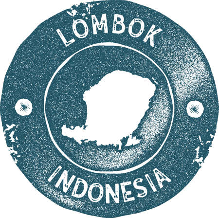 Lombok map vintage stamp. Retro style handmade label, badge or element for travel souvenirs. Blue rubber stamp with island map silhouette. Vector illustration.