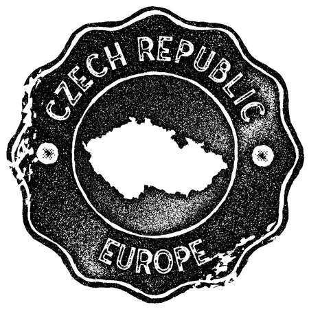 Czech Republic map vintage stamp. Retro style handmade label, badge or element for travel souvenirs. Black rubber stamp with country map silhouette. Vector illustration.  イラスト・ベクター素材