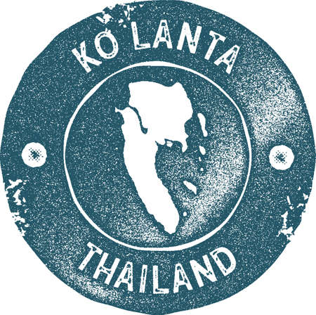 Ko Lanta map vintage stamp. Retro style handmade label, badge or element for travel souvenirs. Blue rubber stamp with island map silhouette. Vector illustration. Vettoriali