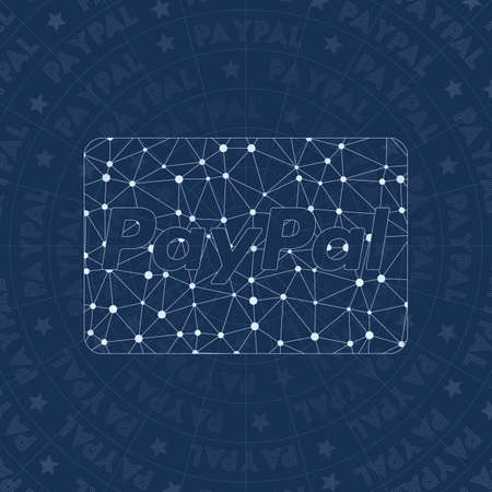 Cc paypal network symbol. Admirable constellation style symbol. Neat network style. Modern design. Cc paypal symbol for infographics or presentation. Illustration