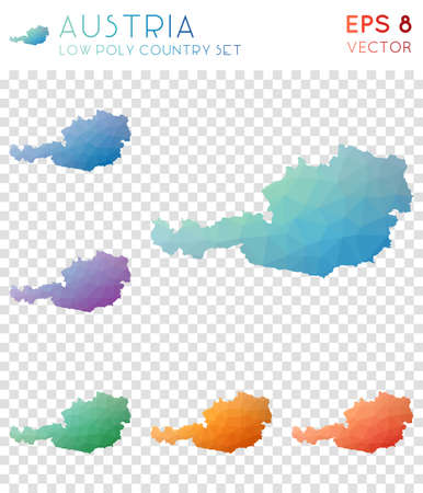 Austria geometric polygonal maps, mosaic style country collection. Attractive low poly style, modern design. Austria polygonal maps for infographics or presentation. Illustration