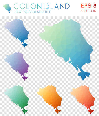 Colon Island geometric polygonal maps, mosaic style island collection. Majestic low poly style, modern design. Colon Island polygonal maps for infographics or presentation. Illustration
