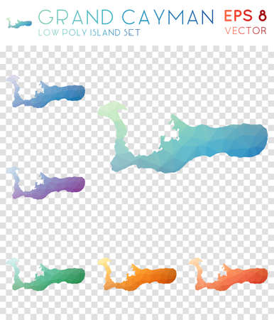 Grand Cayman geometric polygonal maps, mosaic style island collection. Precious low poly style, modern design. Grand Cayman polygonal maps for infographics or presentation.