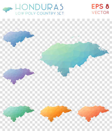 Honduras geometric polygonal maps, mosaic style country collection. Interesting low poly style, modern design. Honduras polygonal maps for infographics or presentation.