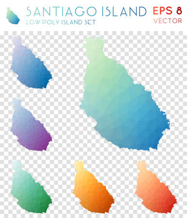 Santiago Island geometric polygonal maps, mosaic style island collection. Magnificent low poly style, modern design. Santiago Island polygonal maps for infographics or presentation.
