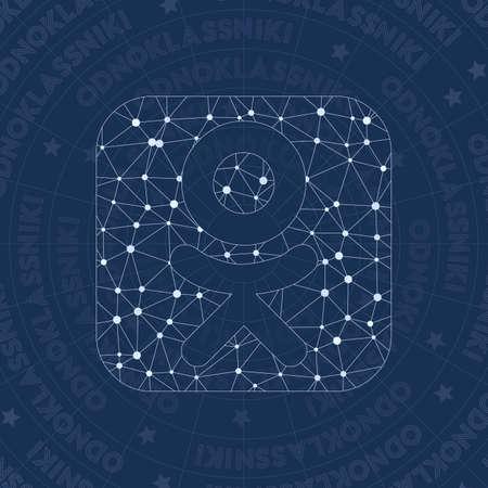 Odnoklassniki square network symbol. Amazing constellation style symbol. Flawless network style. Modern design. Odnoklassniki square symbol for infographics or presentation. Vettoriali