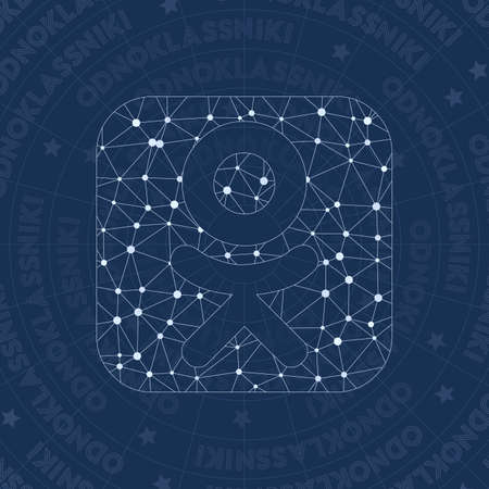 Odnoklassniki square network symbol. Amazing constellation style symbol. Flawless network style. Modern design. Odnoklassniki square symbol for infographics or presentation. Illustration