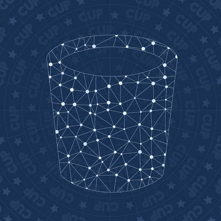Cup network symbol. Adorable constellation style symbol. Overwhelming network style. Modern design. Cup symbol for infographics or presentation.