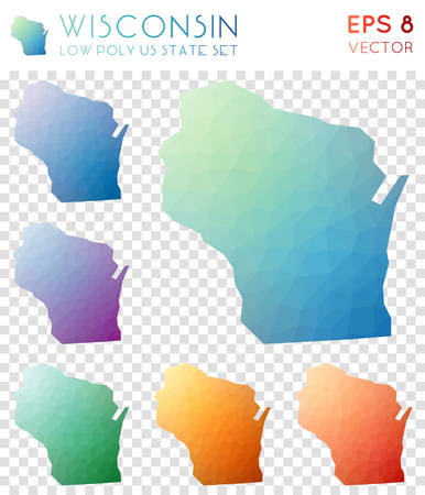Wisconsin geometric polygonal maps, mosaic style us state collection. Graceful low poly style, modern design. Wisconsin polygonal maps for infographics or presentation.