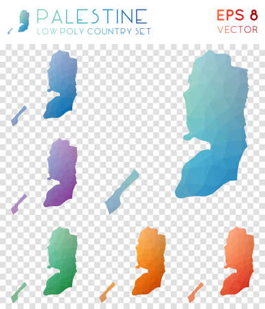 Palestine geometric polygonal maps, mosaic style country collection. Astonishing low poly style, modern design. Palestine polygonal maps for infographics or presentation.