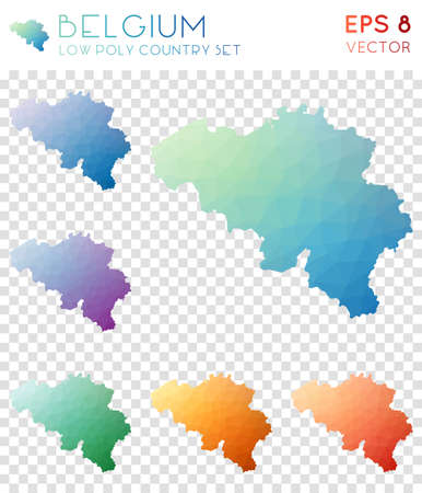 Belgium geometric polygonal maps, mosaic style country collection. Beauteous low poly style, modern design. Belgium polygonal maps for infographics or presentation.