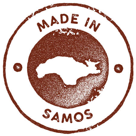 Samos map vintage stamp. Retro style handmade label, badge or element for travel souvenirs. Red rubber stamp with island map silhouette. Vector illustration.