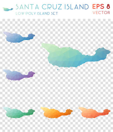 Santa Cruz Island geometric polygonal maps, mosaic style island collection. Lovely low poly style, modern design. Santa Cruz Island polygonal maps for infographics or presentation.