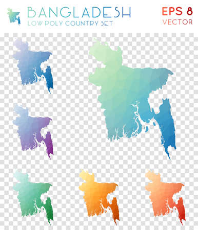 Bangladesh geometric polygonal maps, mosaic style country collection. Bizarre low poly style, modern design. Bangladesh polygonal maps for infographics or presentation.