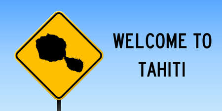 Tahiti map on road sign. Wide poster with Tahiti island map on yellow rhomb road sign. Vector illustration.